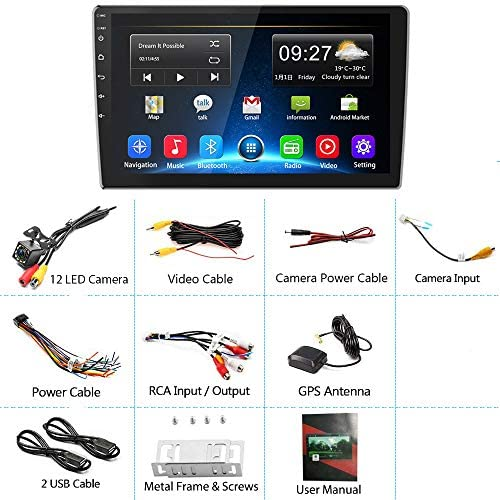51Tn+cTDAML. AC  - [2G+32G] Upgrade Hikity Double Din Android Car Stereo 10.1 Inch Touch Screen Radio Bluetooth WiFi GPS FM Radio Support Android/iOS Phone Mirror Link with Dual USB Input & Backup Camera