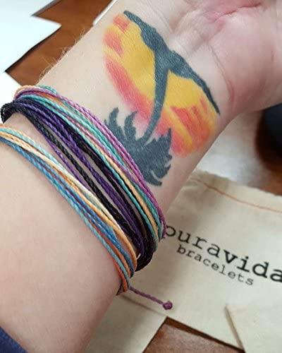 51U6thdUZDL. AC  - Pura Vida Jewelry Bracelets Bright Bracelet - 100% Waterproof and Handmade w/Coated Charm, Adjustable Band