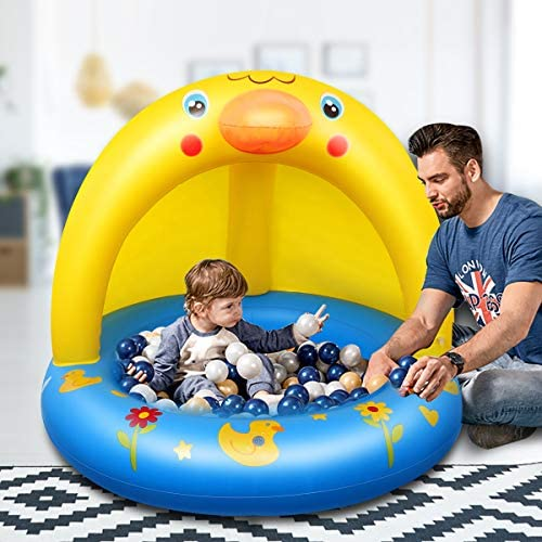 51UEppF08JL. AC  - Inflatable Baby Pool, Kiddie Splash Duck Pool with Shade Sprinkler, Outdoor Water Toys Summer Kiddy Plastic Blow up Swimming Pool Outside Backyard for Kid Toddler Boy Girl Age 1-2 1-3 2-4 Year Old