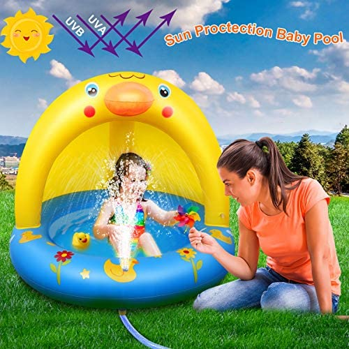 51UOMq IKQL. AC  - Inflatable Baby Pool, Kiddie Splash Duck Pool with Shade Sprinkler, Outdoor Water Toys Summer Kiddy Plastic Blow up Swimming Pool Outside Backyard for Kid Toddler Boy Girl Age 1-2 1-3 2-4 Year Old