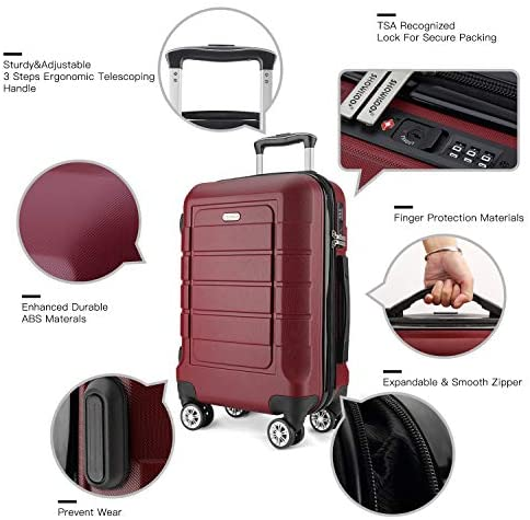 51UuaRb43RL. AC  - SHOWKOO Luggage Sets Expandable PC+ABS Durable Suitcase Double Wheels TSA Lock Red Wine