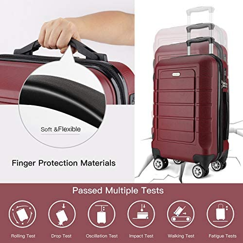 51VkLPu0b6L. AC  - SHOWKOO Luggage Sets Expandable PC+ABS Durable Suitcase Double Wheels TSA Lock Red Wine