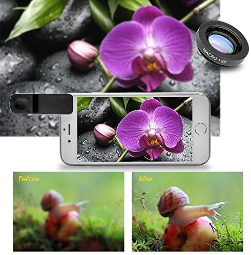 51WTVbEVeQL. AC  - Godefa Cell Phone Camera Lens with Tripod+ Shutter Remote,6 in 1 18x Telephoto Zoom Lens/Wide Angle/Macro/Fisheye/Kaleidoscope/CPL, Clip-On lense Compatible for iPhone X 8 7 6s Plus, Samsung and More