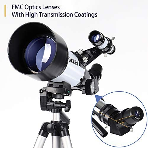 51YH+QbUn6L. AC  - occer Telescopes for Adults Kids Beginners - 70mm Aperture 400mm Telescope FMC Optic for View Moon Planet - Portable Refractor Telescope with Adjustable Tripod Finder Scope Phone Adapter
