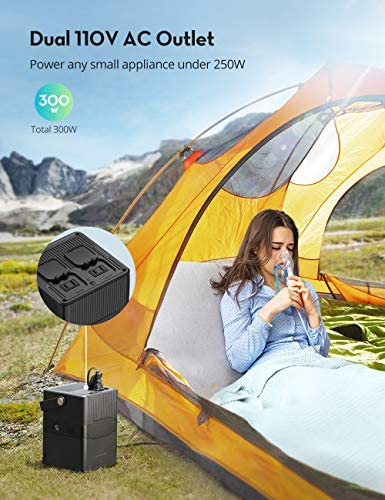 51ZuZCksSjL. AC  - Portable Power Station RAVPower 252.7Wh/70200mAh Solar Generator,Dual 110V/300W Pure Sine Wave AC Outlet,60W PD and 120W DC Port Backup Lithium Battery for Outdoors Camping Travel Hunting Emergency