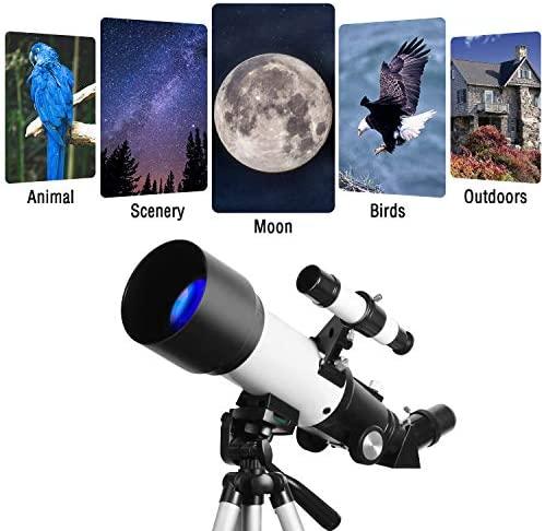 51bRP0vSDkL. AC  - Telescopes for Adults, 70mm Aperture 400mm AZ Mount, Telescope for Kids Beginners, Fully Multi-Coated Optics, Astronomy Refractor Telescope Portable Telescope with Tripod, Phone Adapter, Backpack