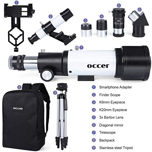 51cKQ75cgSL. AC  - occer Telescopes for Adults Kids Beginners - 70mm Aperture 400mm Telescope FMC Optic for View Moon Planet - Portable Refractor Telescope with Adjustable Tripod Finder Scope Phone Adapter