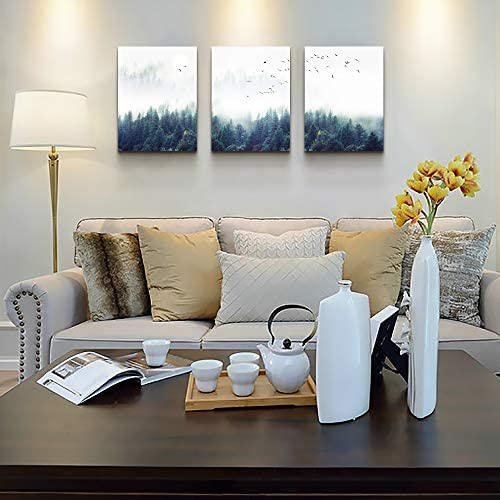 """51gLGYz2njL. AC  - 3 Piece Canvas Wall Art for Living Room - Misty Forests of Evergreen Coniferous Trees in an Ethereal Landscape - Modern Home Decor Stretched and Framed Ready to Hang - 12""""x16""""x3 Panels wall decor"""
