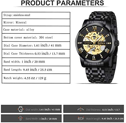 51hhFmgGHZL. AC  - Mens Watches Mechanical Automatic Self-Winding Stainless Steel Skeleton Luxury Waterproof Diamond Dial Wrist Watches for Men