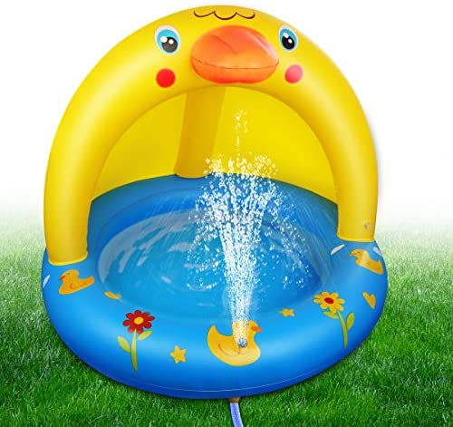 51l1ydwhnfL. AC  - Inflatable Baby Pool, Kiddie Splash Duck Pool with Shade Sprinkler, Outdoor Water Toys Summer Kiddy Plastic Blow up Swimming Pool Outside Backyard for Kid Toddler Boy Girl Age 1-2 1-3 2-4 Year Old