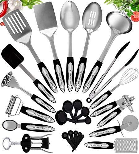 51lFyvM15LL. AC  - Home Hero Stainless Steel Kitchen Cooking Utensils - 25 Piece Kitchen Utensil Set - Nonstick Kitchen Utensils Cookware Set with Spatula Set - Kitchen Gadgets Kitchen Tool Set Cooking Utensils Set