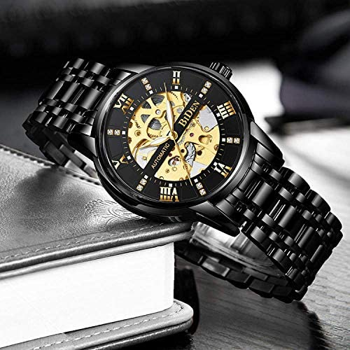 51nbhFlRZwL. AC  - Mens Watches Mechanical Automatic Self-Winding Stainless Steel Skeleton Luxury Waterproof Diamond Dial Wrist Watches for Men