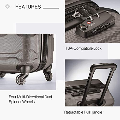 51rYN4digbL. AC  - Samsonite Omni PC Hardside Expandable Luggage with Spinner Wheels, Silver, 2-Piece Set (20/24)
