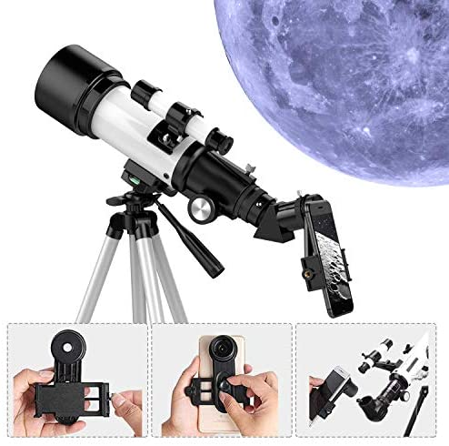 51u0+yPX+0L. AC  - Telescopes for Adults, 70mm Aperture 400mm AZ Mount, Telescope for Kids Beginners, Fully Multi-Coated Optics, Astronomy Refractor Telescope Portable Telescope with Tripod, Phone Adapter, Backpack