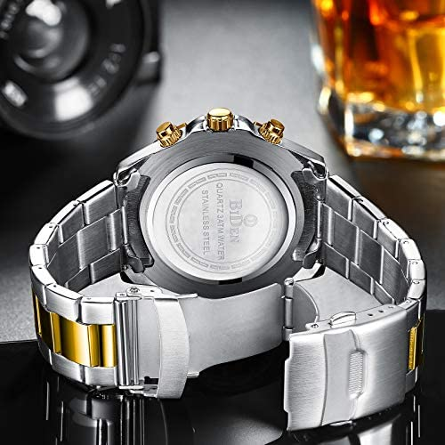 51u1Ai+3FzL. AC  - Mens Watches Chronograph Stainless Steel Waterproof Date Analog Quartz Fashion Business Wrist Watches for Men