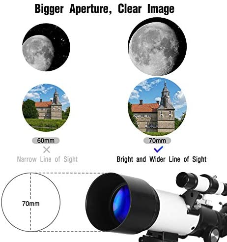 51x9eOO9uaL. AC  - Telescopes for Adults, 70mm Aperture 400mm AZ Mount, Telescope for Kids Beginners, Fully Multi-Coated Optics, Astronomy Refractor Telescope Portable Telescope with Tripod, Phone Adapter, Backpack