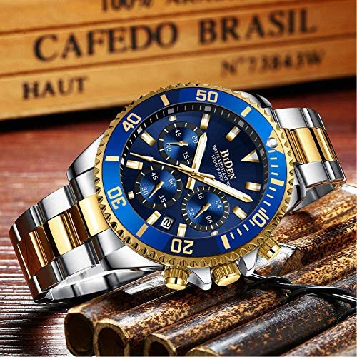 61OeoKXJ0VL. AC  - Mens Watches Chronograph Stainless Steel Waterproof Date Analog Quartz Fashion Business Wrist Watches for Men