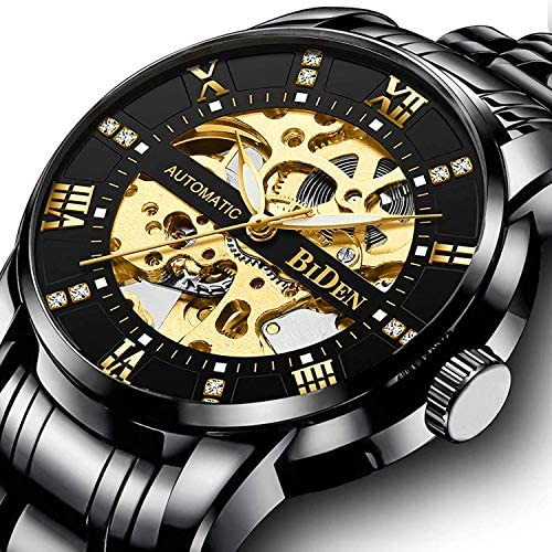 61T zy7TMqL. AC  - Mens Watches Mechanical Automatic Self-Winding Stainless Steel Skeleton Luxury Waterproof Diamond Dial Wrist Watches for Men