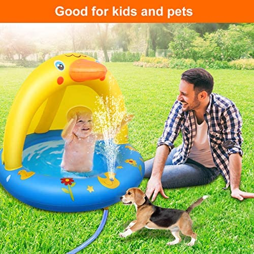 61dMa0a2FQL. AC  - Inflatable Baby Pool, Kiddie Splash Duck Pool with Shade Sprinkler, Outdoor Water Toys Summer Kiddy Plastic Blow up Swimming Pool Outside Backyard for Kid Toddler Boy Girl Age 1-2 1-3 2-4 Year Old