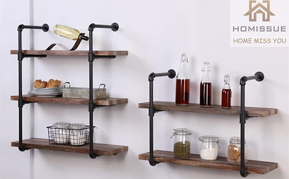 8171f85b 00e4 4de6 9d95 57199c4feec7.  CR0,12,975,603 PT0 SX970 V1    - Homissue 2-Shelf Rustic Pipe Shelving Unit, Vintage Industrial Pipe Wall Shelf, Retro Brown