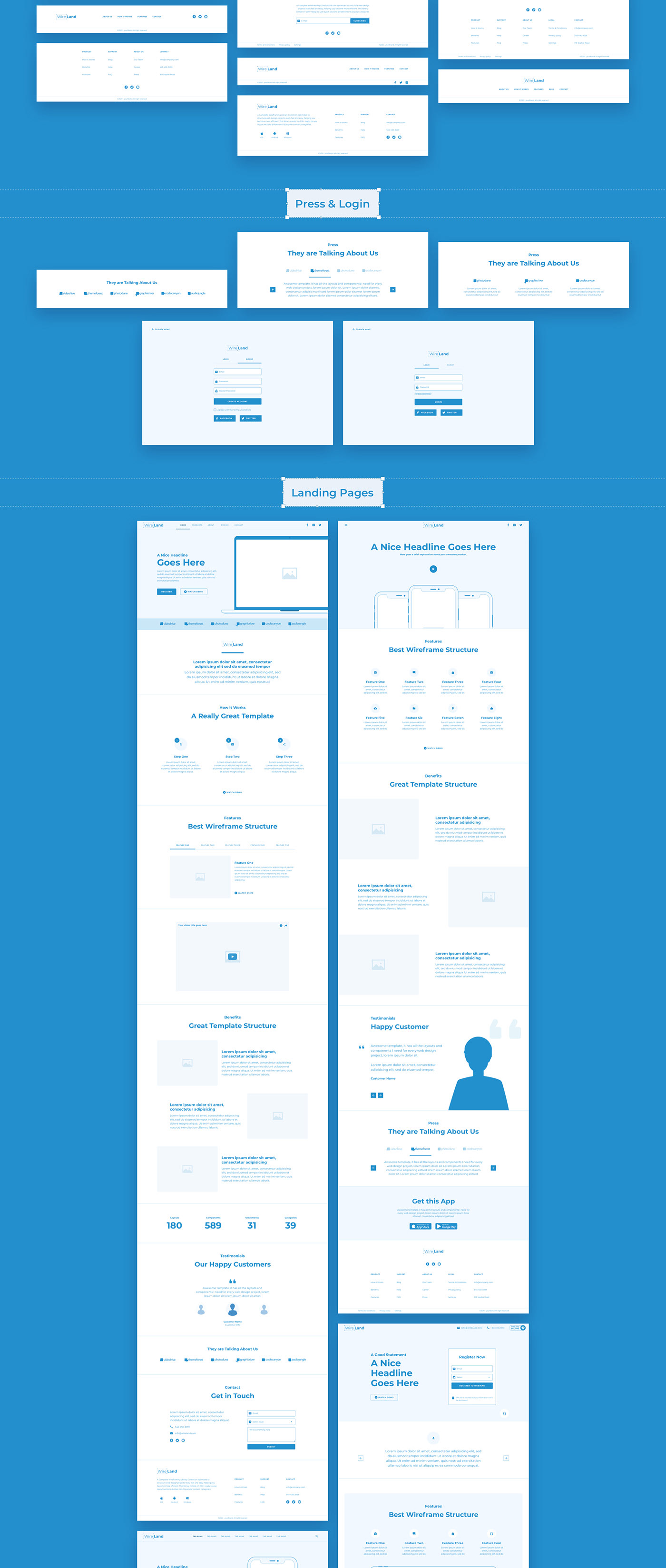 8cbaeb57728315.5f82276d39a91 - Wireland - Wireframe Library for Web Design Projects - Sketch Template