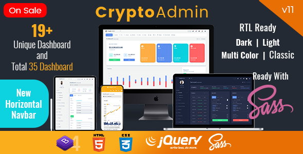 CryptoAdmin features preview.  large preview - Crypto Admin - Responsive Cryptocurrency HTML Templates + Bitcoin Dashboards + ICO