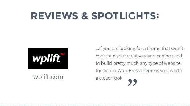 Reviews And Spotlights - Scalia - Multi-Concept Business, Shop, One-Page, Blog Theme