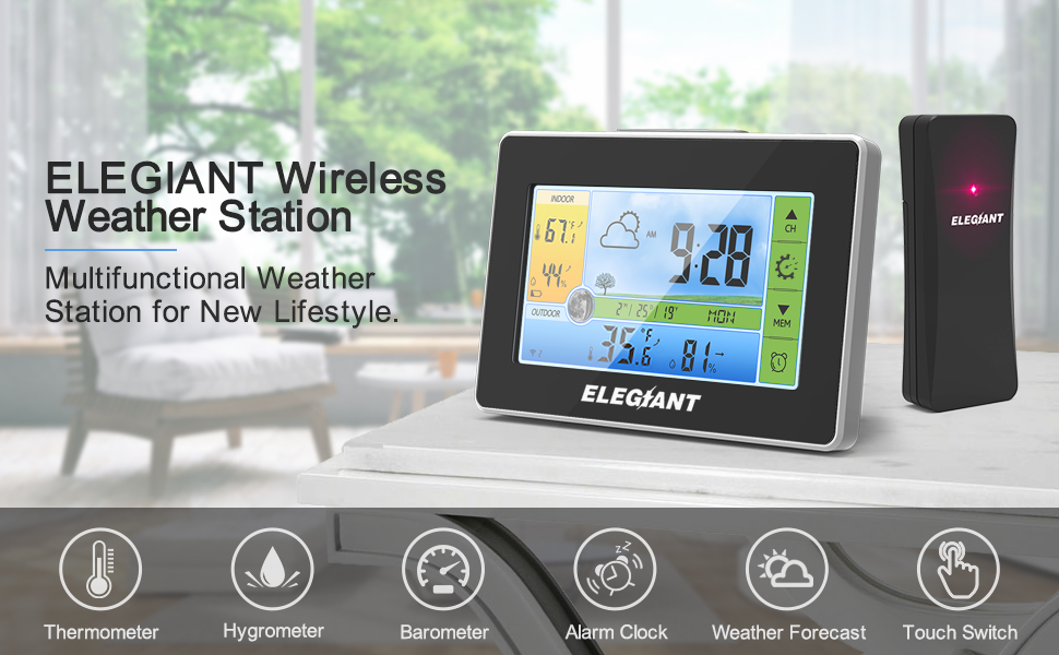 a0ef864c 4821 484a 8bc9 2ba66e8db10c.  CR0,0,970,600 PT0 SX970 V1    - ELEGIANT Wireless Weather Station, Indoor Outdoor Thermometer Hygrometer with Sensor, LCD Color Screen, Digital Temperature Humidity Monitor, Weather Forecast, Alarm Clock, Adjustable Brightness