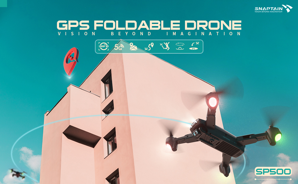 a25ccfec d40e 4fde 9b02 ef366437d5cc.  CR0,0,970,600 PT0 SX970 V1    - SNAPTAIN SP500 Foldable GPS FPV Drone with 1080P HD Camera Live Video for Beginners, RC Quadcopter with GPS Return Home, Follow Me, Gesture Control, Circle Fly, Auto Hover & 5G WiFi Transmission