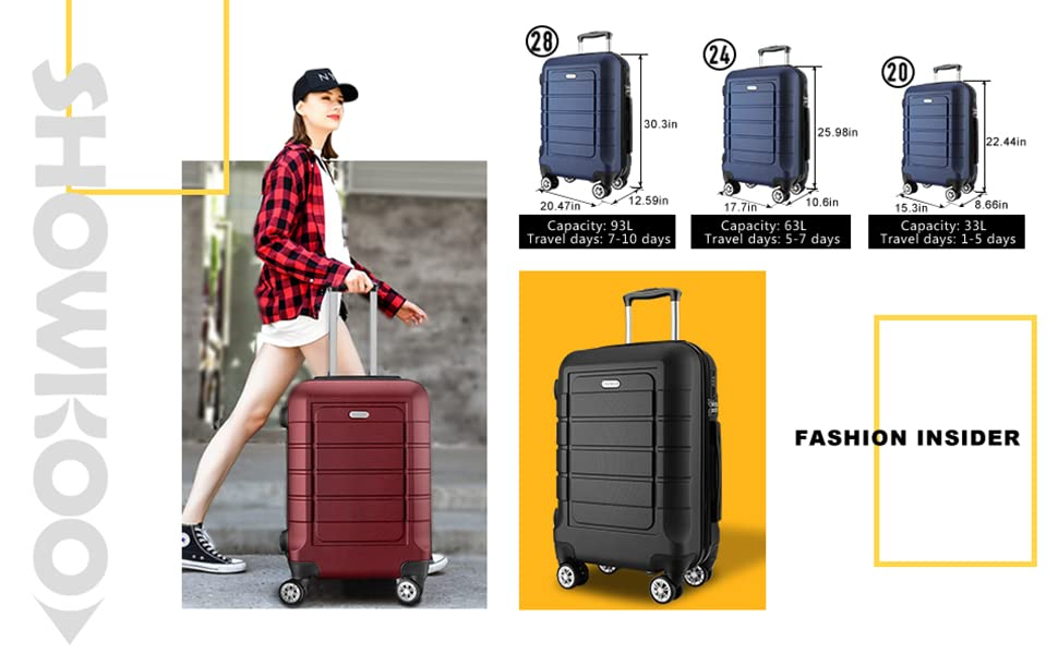 a51fc4c1 18ff 43fe b5f3 ae0db91b9fb0. CR0,3,970,600 PT0 SX970   - SHOWKOO Luggage Sets Expandable PC+ABS Durable Suitcase Double Wheels TSA Lock Red Wine
