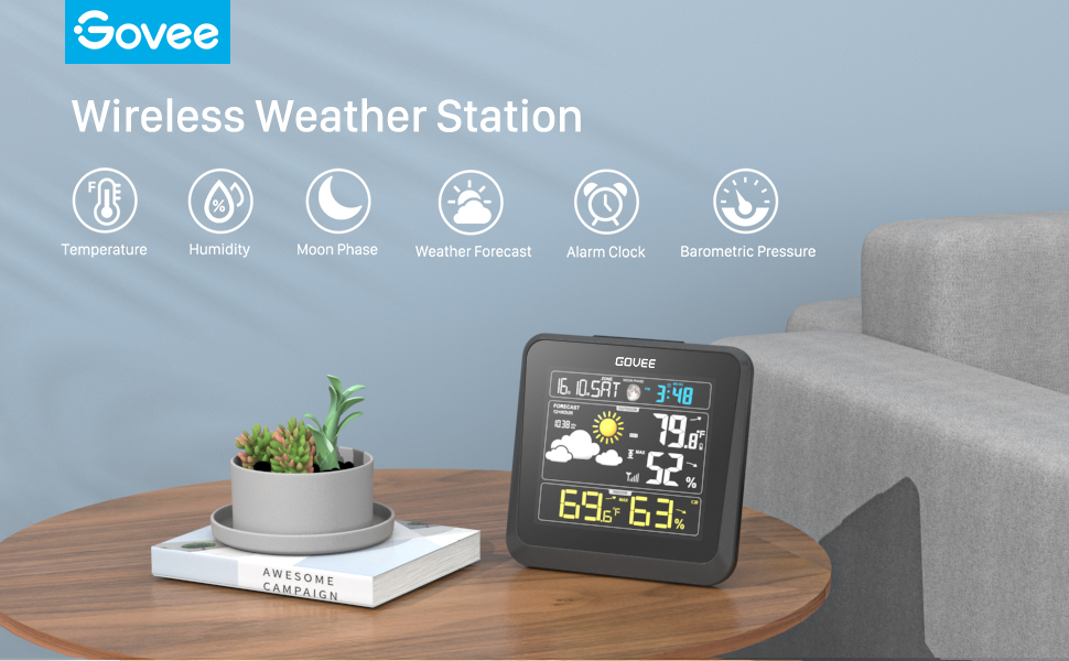 c3c4ea96 fd26 470f b160 e06c7c609f38.  CR0,0,970,600 PT0 SX970 V1    - Govee Wireless Weather Station, Color LCD Display, Weather Forecast with Outdoor Sensor, Digital Temperature and Humidity Gauge with Alarm Clock, Moon Phase, Backlight, Snooze Mode