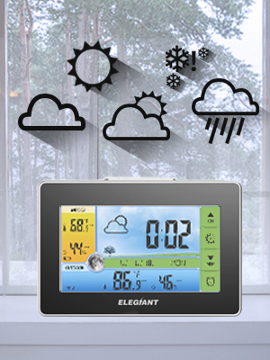 c67f1add bcb4 4115 a341 f1d2f6bd4f01.  CR0,0,300,400 PT0 SX300 V1    - ELEGIANT Wireless Weather Station, Indoor Outdoor Thermometer Hygrometer with Sensor, LCD Color Screen, Digital Temperature Humidity Monitor, Weather Forecast, Alarm Clock, Adjustable Brightness