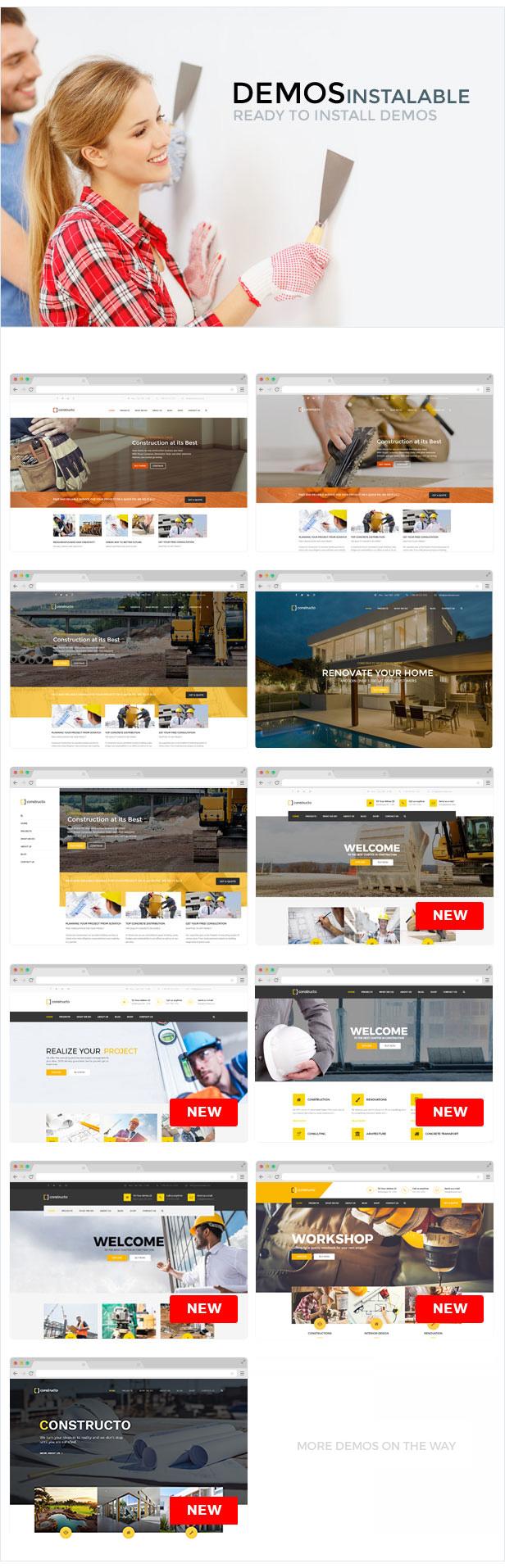demos presentation - Constructo - Construction WordPress Theme