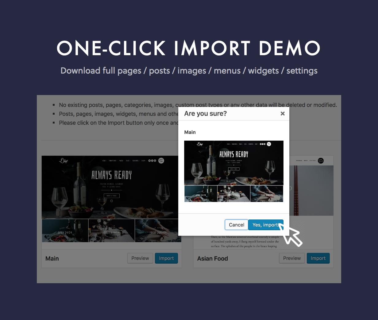 dine one click - Dine - Elegant Restaurant WordPress Theme