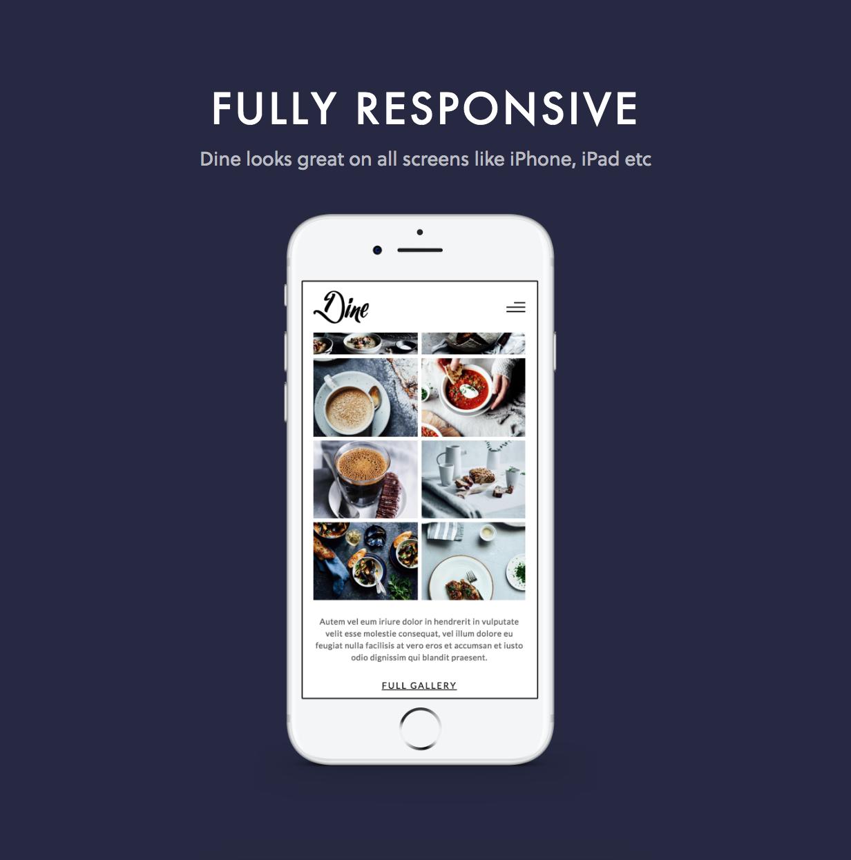 dine responsive - Dine - Elegant Restaurant WordPress Theme