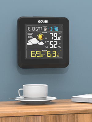 e6086e95 9773 482a 8c1e 0ecff2b2fc86.  CR0,0,300,400 PT0 SX300 V1    - Govee Wireless Weather Station, Color LCD Display, Weather Forecast with Outdoor Sensor, Digital Temperature and Humidity Gauge with Alarm Clock, Moon Phase, Backlight, Snooze Mode
