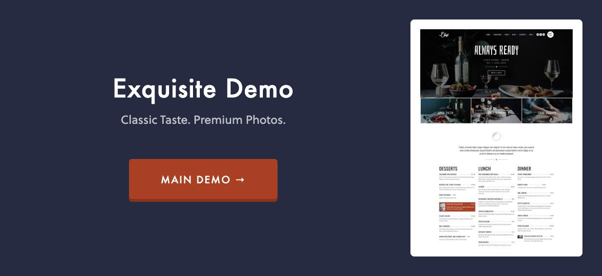 main demo - Dine - Elegant Restaurant WordPress Theme