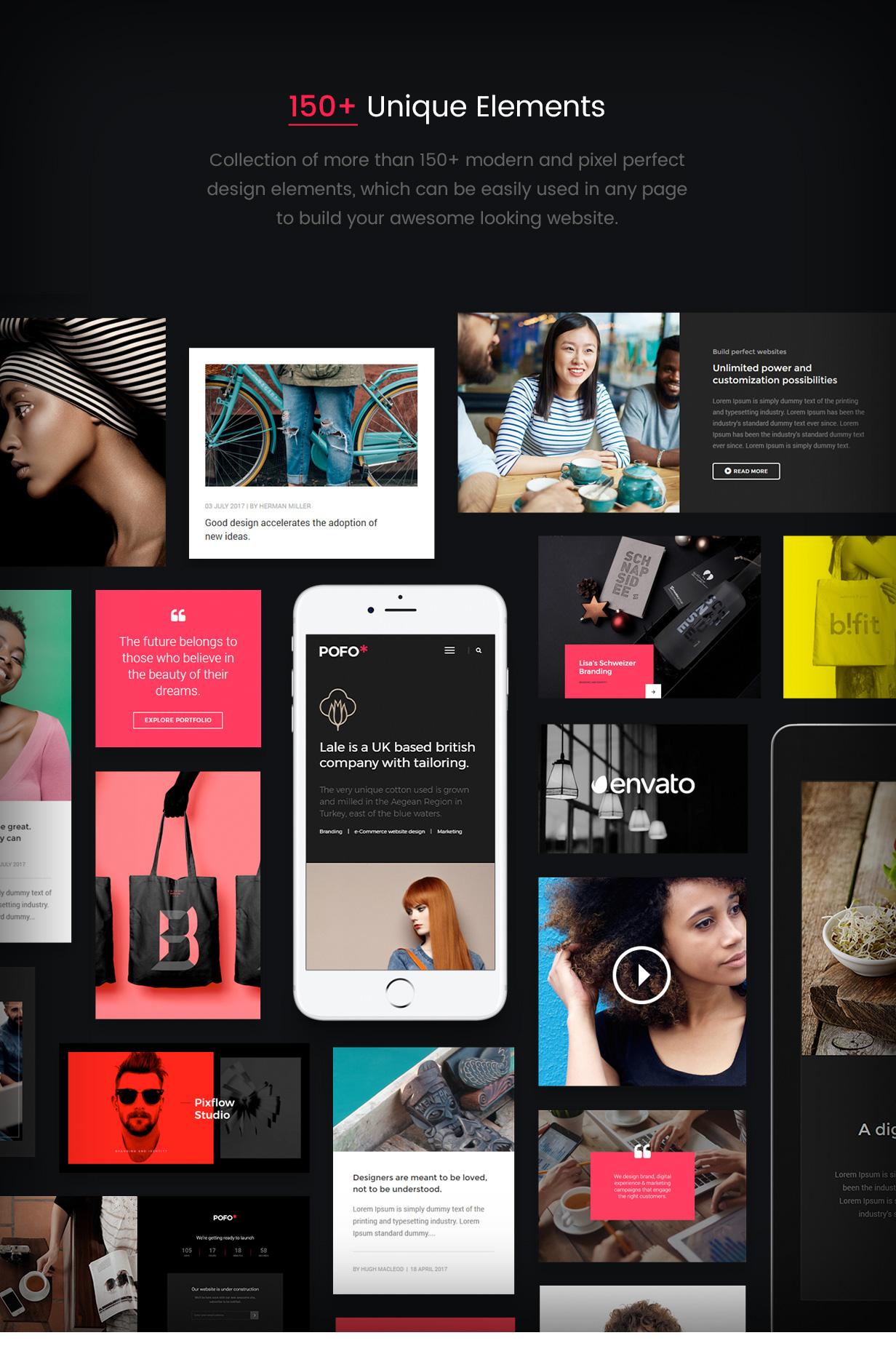 pofo wordpress elements - Pofo - Creative Portfolio and Blog WordPress Theme