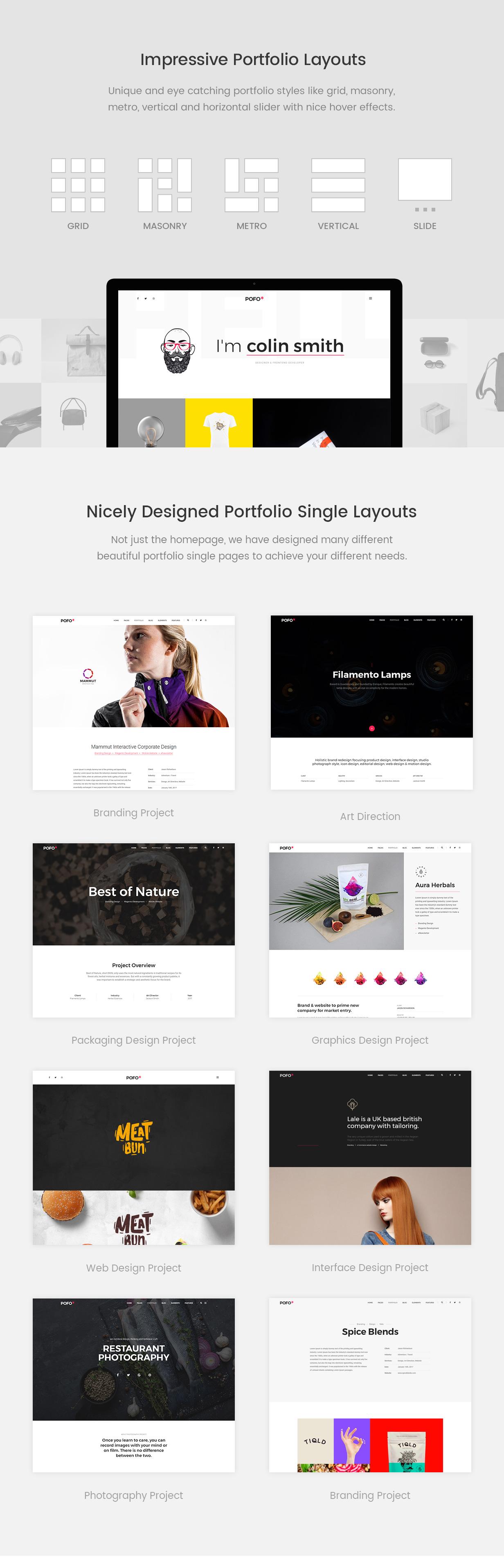 pofo wordpress portfolio layouts - Pofo - Creative Portfolio and Blog WordPress Theme