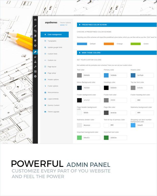 presentation themeoptions - Constructo - Construction WordPress Theme