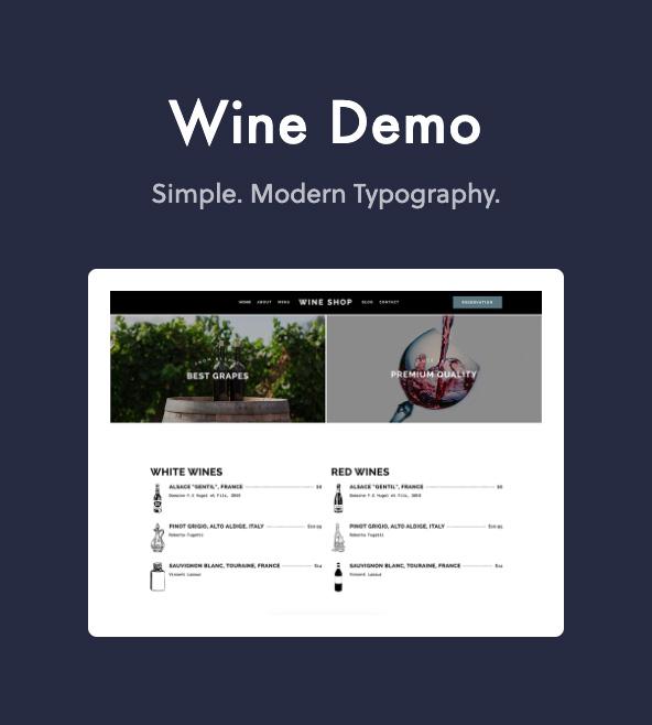 wine demo - Dine - Elegant Restaurant WordPress Theme
