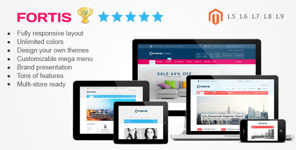 01 Preview.  large preview - Fortis - Responsive Magento Theme
