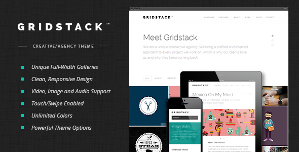 01 preview image.  large preview - GridStack - Responsive Agency WordPress Theme