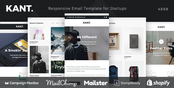 01 preview kant.  large preview - Kant - Responsive Email for Startups: 50+ Sections + MailChimp + Mailster + Shopify Notifications