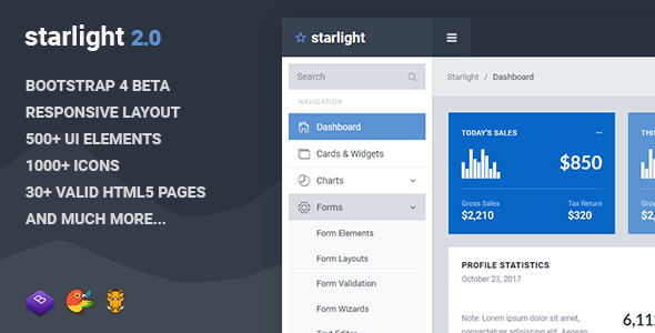 01 screenshot.  large preview - Starlight Responsive Bootstrap 4 Admin Dashboard Template