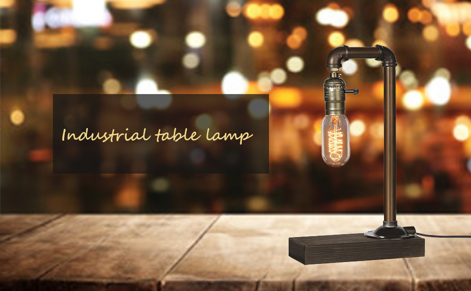 0a4d07dc 4b9a 45ee b471 e5526af7eab3.  CR0,0,970,600 PT0 SX970 V1    - HAITRAL Retro Vintage Table Lamp- Industrial Loft Style Steam Punk Lamp with Wood Base Iron Piping Desk Lamp for Bedside, Living Room, Kitchen, Café, Store, Pub, Dorm (Bulb Not Included)