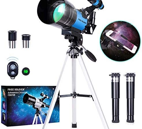 1613838375 51d8Z3daBWL. AC  491x445 - FREE SOLDIER Telescope for Kids Astronomy Beginners - 70mm Aperture High Magnification Astronomical Refractor Telescope with Phone Adapter Wireless Remote Portable Telescope for Kids, Blue