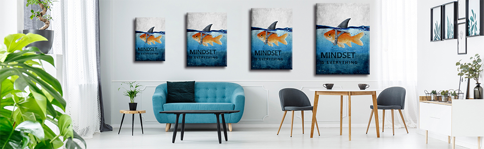 """3ee0837a 60f1 4529 ac02 3f796b7a49aa.  CR0,0,970,300 PT0 SX970 V1    - Mindset is Everything Motivational Canvas Wall Art Inspirational Entrepreneur Quotes Poster Print Artwork Painting Picture for Living Room Bedroom Office Home Decor Framed Ready to Hang (12""""Wx18""""H)"""