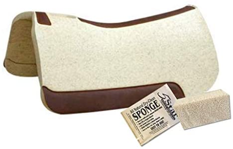 """412YA0Z3DlL. AC  - 5 Star - 1 1/8"""" Extra Thick Rancher Western Saddle Pad - The Rancher Performer Full Skirt 32"""" x 32"""" This Horse Saddle Pad is Great for Ropers and Ranchers. Free Sponge Saddle Pad Cleaner Included"""