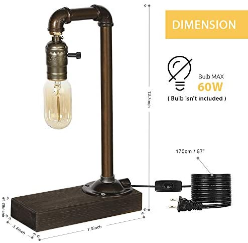 4176Xa2T1rL. AC  - HAITRAL Retro Vintage Table Lamp- Industrial Loft Style Steam Punk Lamp with Wood Base Iron Piping Desk Lamp for Bedside, Living Room, Kitchen, Café, Store, Pub, Dorm (Bulb Not Included)